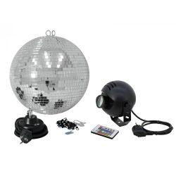 Eurolite 30cm tükörgömbszett RGB LED Spot