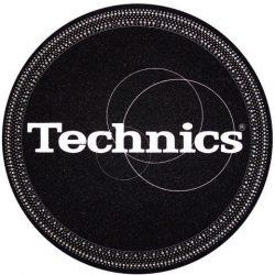 Slipmat Factory TECHNICS logo, fekete alapon bakelit mintával