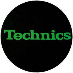 Slipmat Factory TECHNICS logo Green fekete alapon