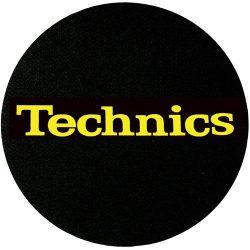 Slipmat Factory TECHNICS logo Yellow fekete alapon