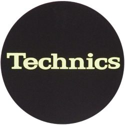 Slipmat Factory TECHNICS logo Yellow fekete alapon